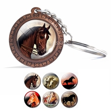 Horse Pendant Glass Cabochon Wooden Keychain Fashion Accessories for Women Handmade Gift