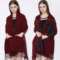Long Scarves for Women Two Pocket 2016 Winter Scarf Warm Solid Plaid Double Side Thick Shawl Red Black Khaki Pink Color 200*55CM
