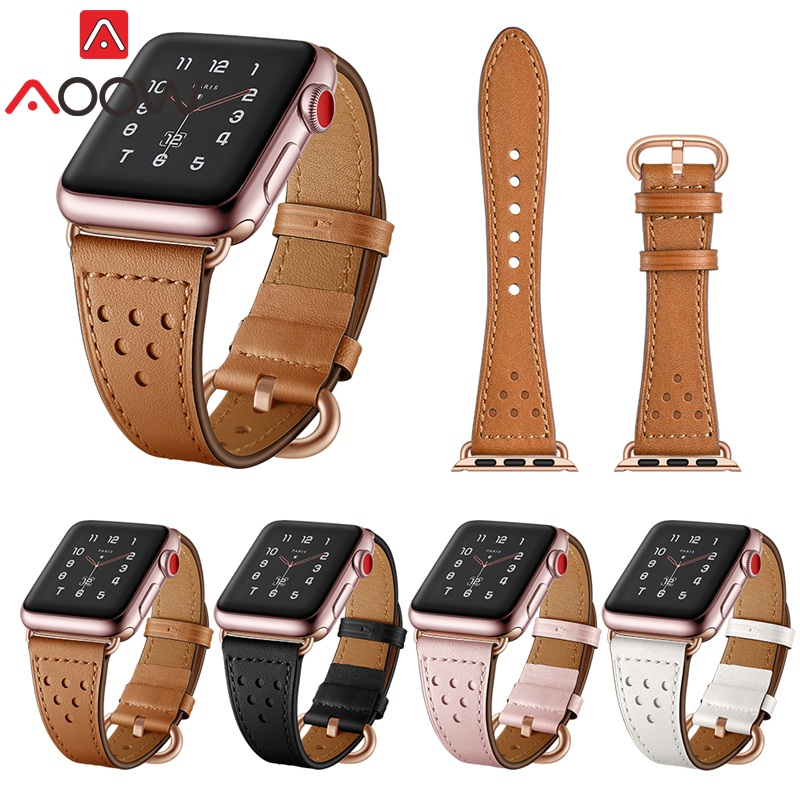 AOOW Genuine Cow Leather Watchband for Apple Watch Rose Gold Clasp Replacement Bracelet Strap Band 38mm 42mm for iwatch 1 2 3 aoow genuine watchband for apple watch 38mm 42mm leather polka dots print vintage white black bracelet strap for iwatch 1 2 3