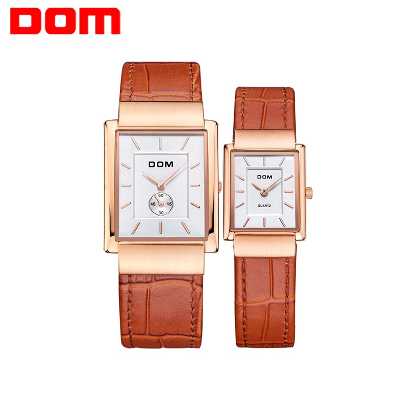 DOM Couple Watches 2017 leather quartz gold lovers watch business waterproof style watch for Lovers 1 Pair=2 Pieces M-289+G-1089