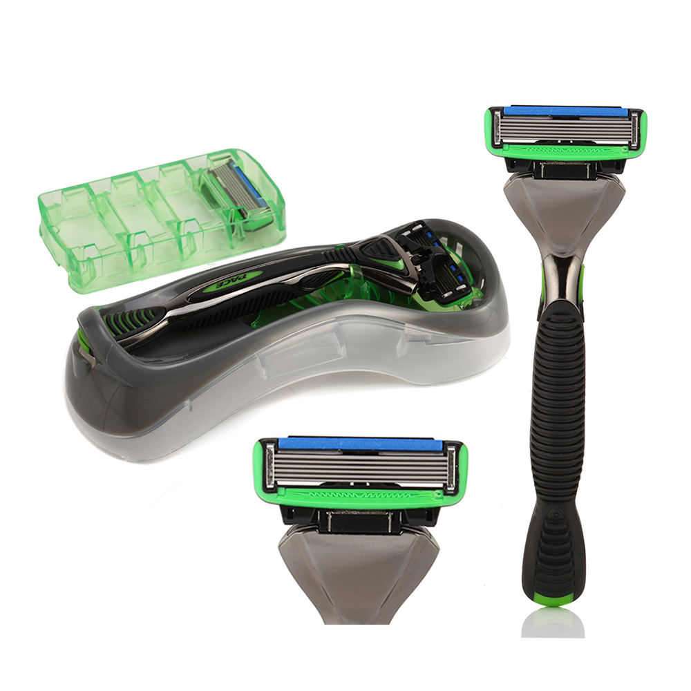 1 Holder + 2 Pace 6 <font><b>Blades</b></font> Manual Shaver Safety Razor Kapper Men Shaving Zinc Alloy + Stainless Steel DORCO Shaving Knife Set