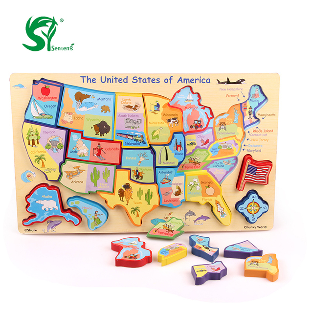 3D America Map wooden toys for children Puzzles United States map ...
