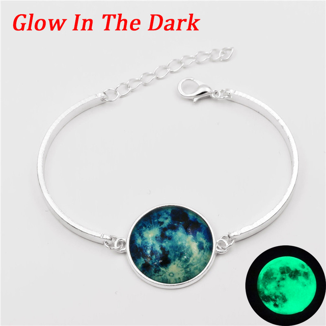 10 Style Glow In The Dark Charms Bracelet Gl Cabochon Gray Moon Luminous Jewelry Silver Cuff