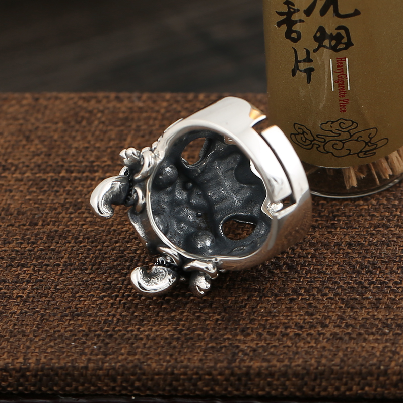Sterling silver S925 Tang Shi evil spirits live ring trend men 39 s fashion open ring in Rings from Jewelry amp Accessories