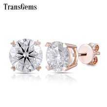 Transgems 14K 585 Rose Gold 2CTW 6.5mm FGH Color Clear Heart and Arrows Moissanite Stud Earrings Push Back for Women Gift