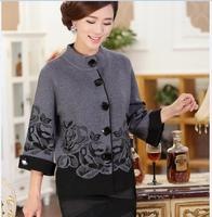 Hot Sale Autumn Winter Fashion Retro Style Flower Knitting Pattern Round Neck Cardigan Sweater