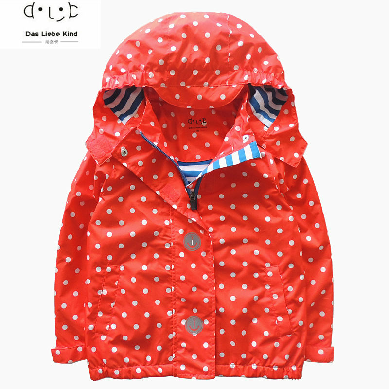 Girls brand outdoor jackets waterproof children clothing kids hooded dot printed coat girl blazer high quality 3 12Y in Jackets Coats from Mother Kids