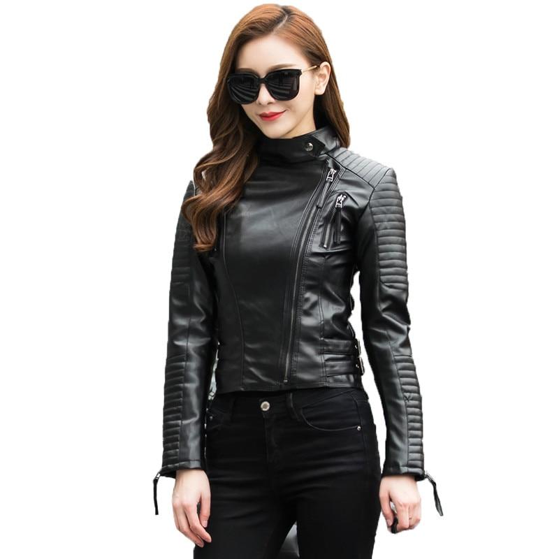 AILOOGE 2019 Autumn Women Punk   Leather   Jacket Soft PU Faux   Leather   Female Jackets Basic Bomber   Leather   Coats