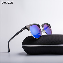 DJXFZLO 2018 Half Metal Fashion New Sunglasses Men/Women Brand Designer Retro Rivet High Quality Lens Sun Glasses Female Oculos