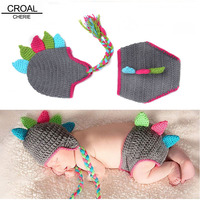 Handmade Dinosaur Hat Baby Photo Props Egnes Clothing Newborn Photography Props Cute Gray Knitted Kids Hats And Diapers Set