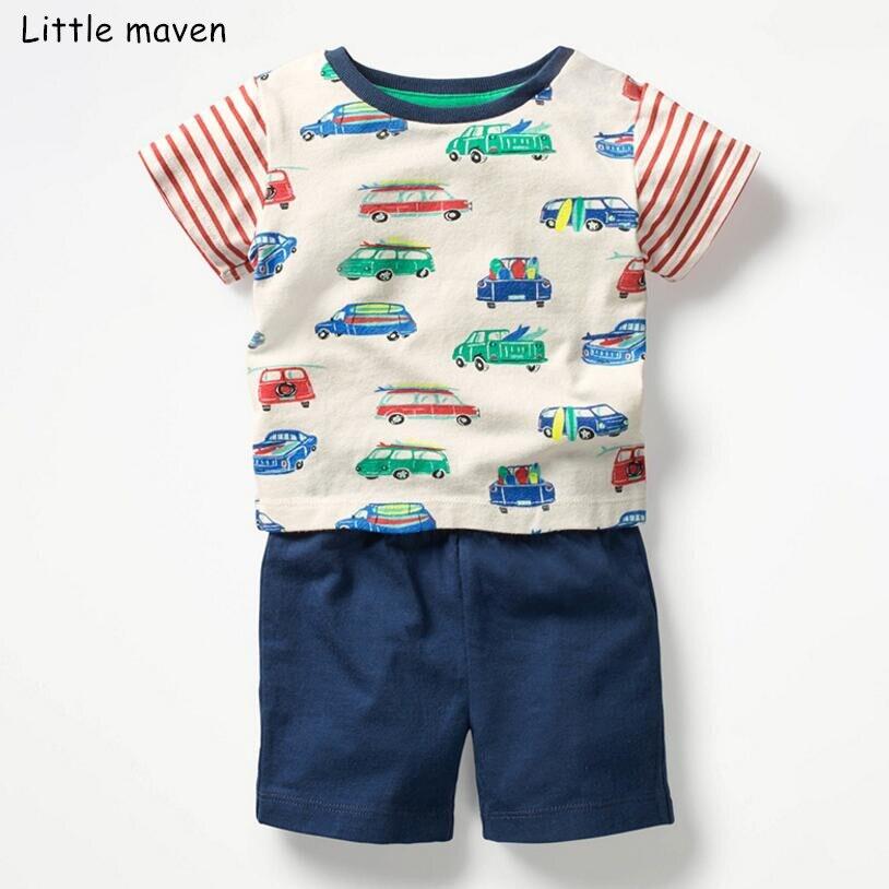 72124c487 Pouco maven marca crianças meninos 2019 do bebê verão conjuntos de roupas  de algodão das crianças do carro baleia listrado imprimir camiseta + calções