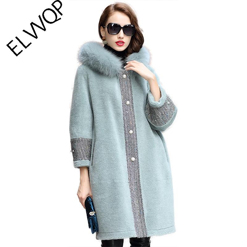 S XL, свободные, большие размеры, зимнее роскошное пальто из лисьего меха, тонкая Длинная синяя Меховая куртка, женские меховые шубы с капюшон