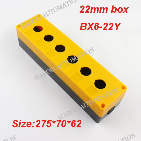 2pcs/lot HABOO 22mm 6position switch box for push button switch/ e-stop switch protection switch box high quality