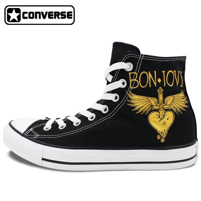 Prix pour Personnalisé Noir Converse Chuck Taylor Peint À La Main Chaussures Homme Femme Bon Jovi Conception High Top Hommes Femmes Sneakers D'anniversaire Cadeaux