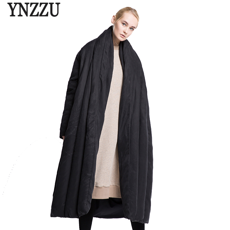 YNZZU Brand Luxury Winter Jacket Women European Style Extra Long Quilt Warm Loose Duck   Down     Coats   Female Snow Overcoat YO374
