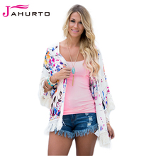 Jahurto Floral Print Cardigan Tassel Beach Cover Up Kimono Sunscreen Women Coat Batwing Bathing Beach Sexy Ladies Jackets