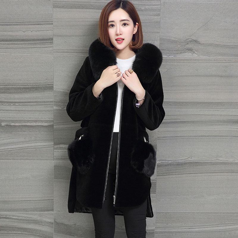 Mode Chaud Large De Black Extra Tonte Fourrure Moutons Épais D'hiver Long Vestes Mm Manteau 100 Col Des Graisse Kg Femmes Paragraphe 2018 wSqnF0EP