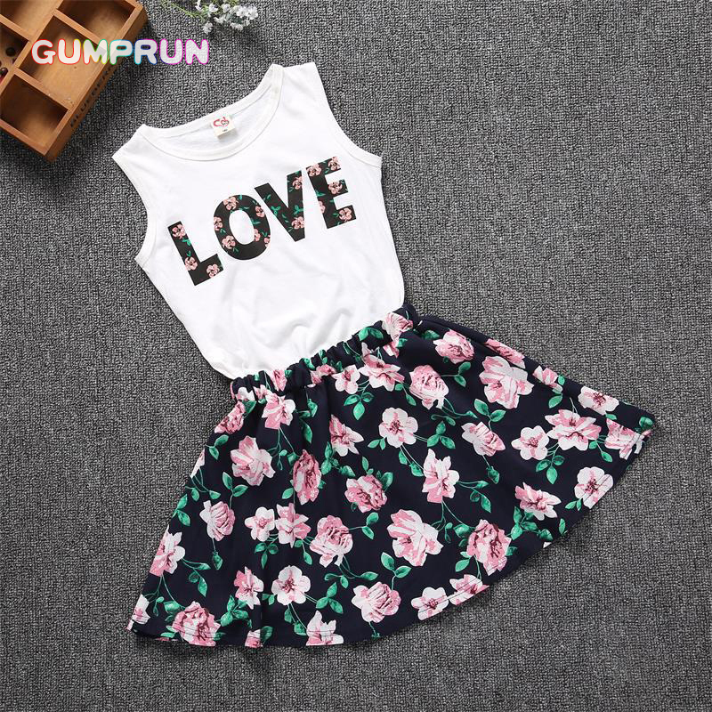 fashion floral girls dress sleeveless letter print shirt elegant baby girls clothes casual children clothing set 3-7 years old letter print cami dress