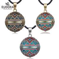 Eudora 20mm Vintage Mexican Bola Harmony Chime Ball Angel Caller Pregnancy Pendant Necklace for Women Fashion Jewelry N14NB319