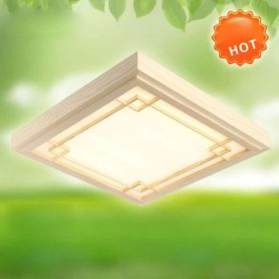 Vintage Ultra tenké LED OAK Dřevěné stropní svítidlo čtvercové stropní světlo Povrchová svítidla dřevěná svítidla svítidla para teto