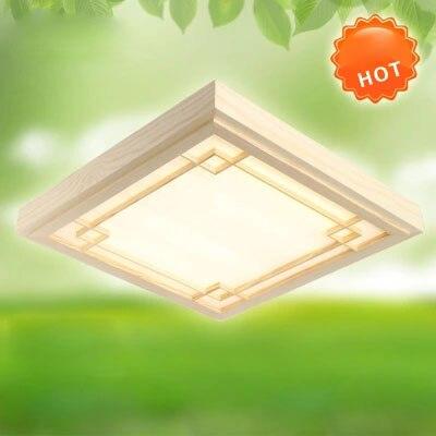 Vintage ultradunne LED OAK houten plafondlamp vierkante plafondlamp - Binnenverlichting