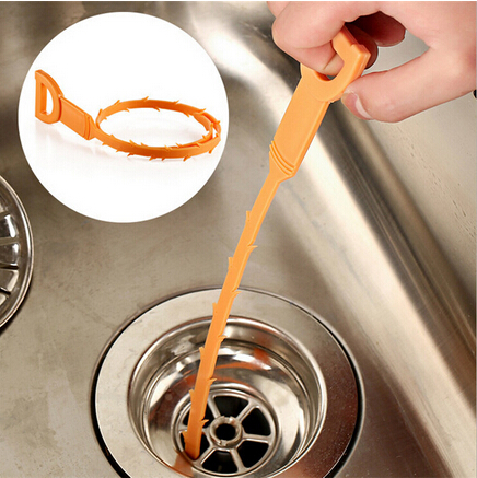 Drainage Pipe Sewer Clean Hook Pipeline Dredge Device Kitchen Toilet Orange 51cm Plastic Strip Tube Tools Hair Stoppersyh-459634 Harmonious Colors