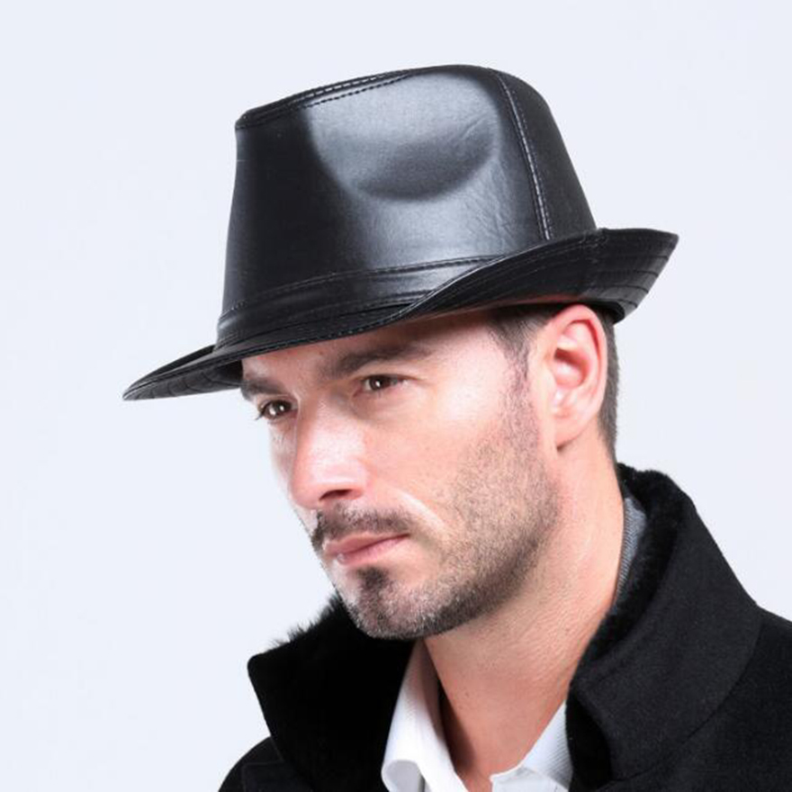 Winter Warm Leather Men s Black Fedora hat For Gentlemen s Genuine Church  Panama Jazz hat IN Stock c0ce603d48c