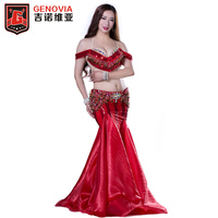 Tribal Rushed New Dance Costume 2018 Women Belly Dance Clothes Eastern Style Bra Long Skirt And Drum Dancing 3pcs Set Costumes