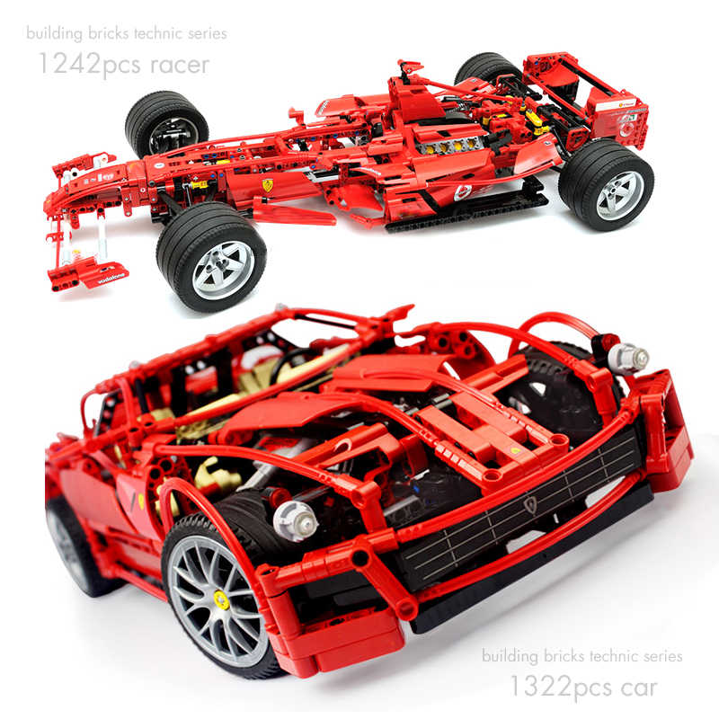 Pandadomik Large Size Racing Car 1322pcs Building Bricks Kits Technic Blocks Racer Model Toy Constructor Kids Toys Gift