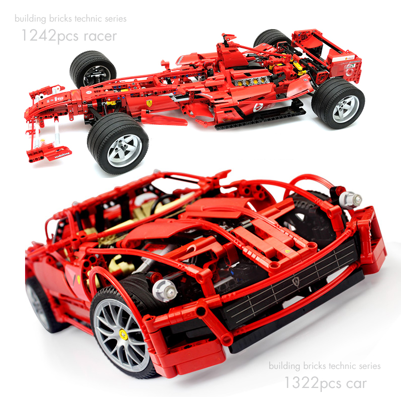 все цены на Pandadomik Large Size Racing Car 1322pcs Building Bricks Kits Technic Blocks Racer Model legoingly Constructor Kids Toys Gift