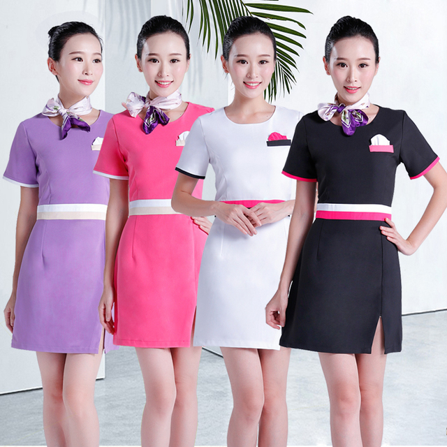 New beautician work clothing summer health museum spa for Spa uniform cotton
