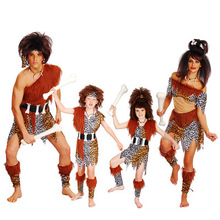 Halloween cos adult wild dress childrens performance clothing, Indian savage costume man clothes women leopard Print Skirt