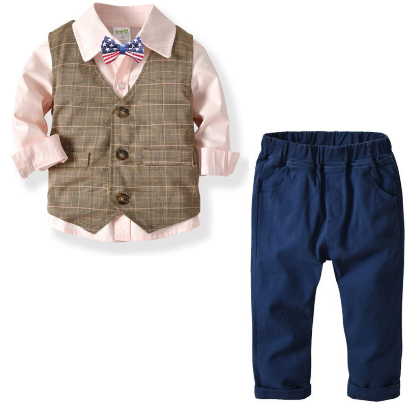 Baby Clothes 4PCS Boys Double Vest+Pink/White Shirt+Trousers Children Gentleman Suit Baby Birthday Party Dress Bebe Formal Dress(China)