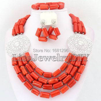 Silver Tone African Coral Beads Jewelry Sets Nigerian Wedding African Bridal Jewelry Sets     HD0811