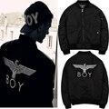 Супер Мальчик Лондон Толщиной Теплая Куртка Мальчик Вышитые MA1 Eagle Hawk С Лейблом Черный Пиджак Пальто