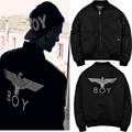 Super Boy London Thick Warm Jacket Boy Embroidered MA1 Eagle Hawk With The Lable Black Jacket Coats