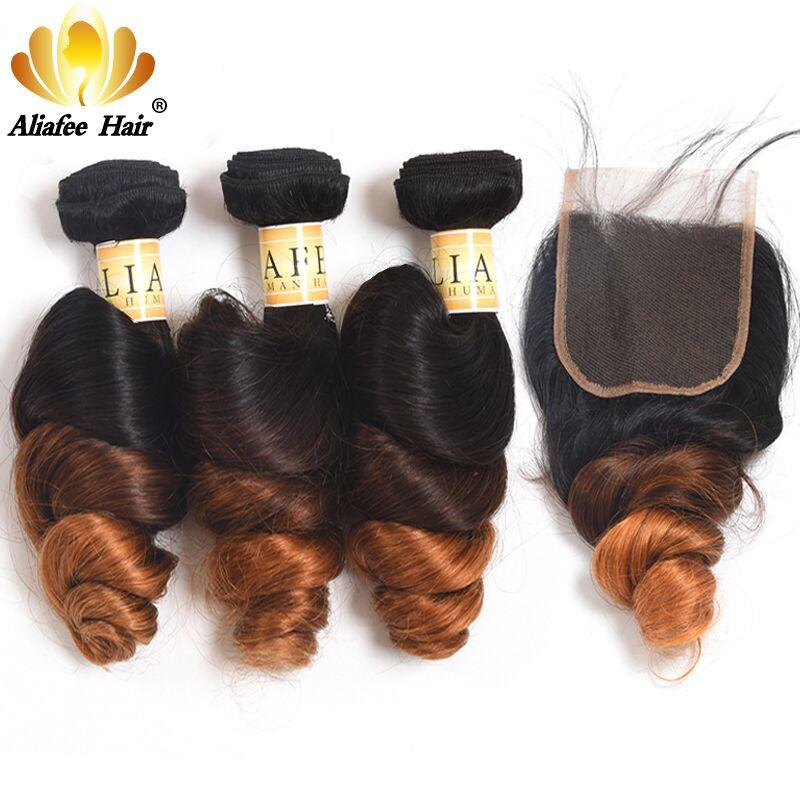 Aliafee Hair Brazilian loose Wave Bundles With Closure 100 Human Hair Extension Brazilian Hair Bundles With