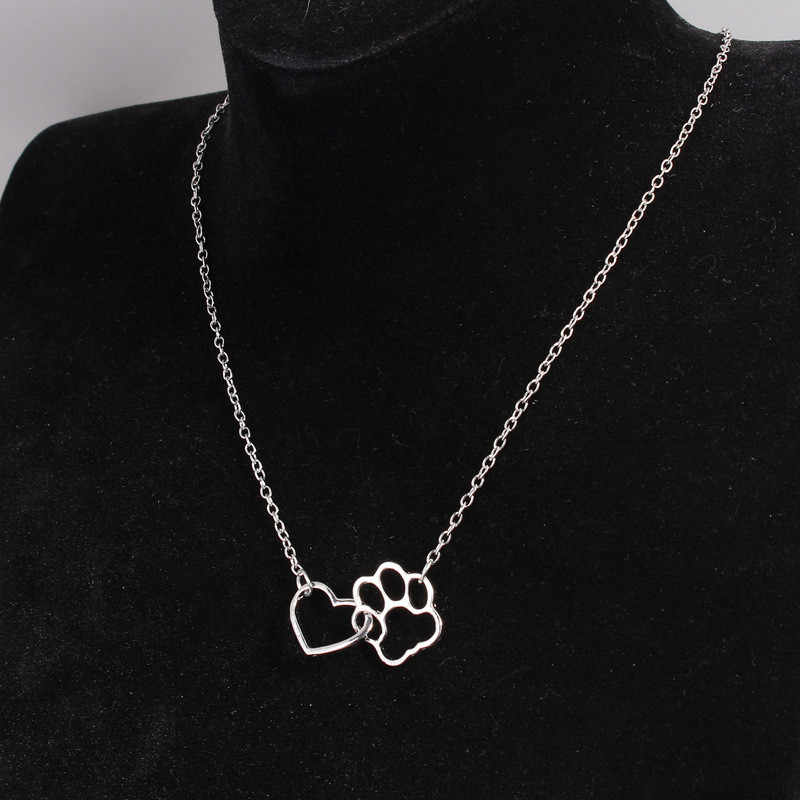 Fashion Hollow Dog Paw Claw Heart Pendant Necklaces Simple Gold Silver Color Chain Love Paw Necklace Pet Dog Animal Jewelry Gift