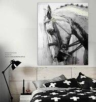 Cheval peinture à l'huile Noir et blanc cheval main moderne peinture home decor toile art mur quadros moderno abstrait animal