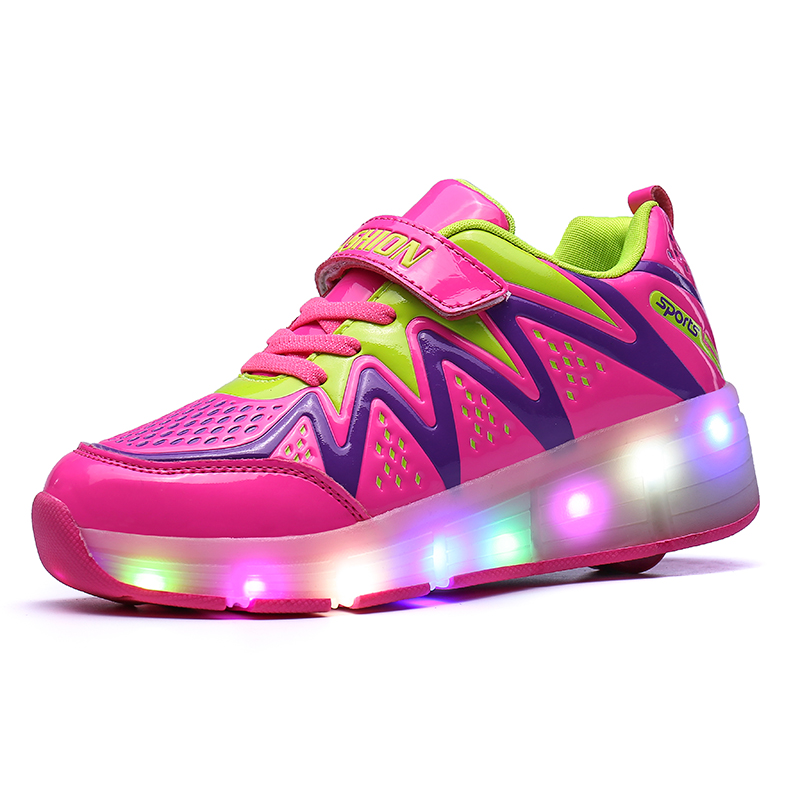 New Breathable Double,Single Wheel Glowing Boys Girls Sneakers LED Light Shoes Little Kids/Big Kids Flashing Board 30-39 joyyou brand usb children boys girls glowing luminous sneakers teenage baby kids shoes with light up led wing school footwear