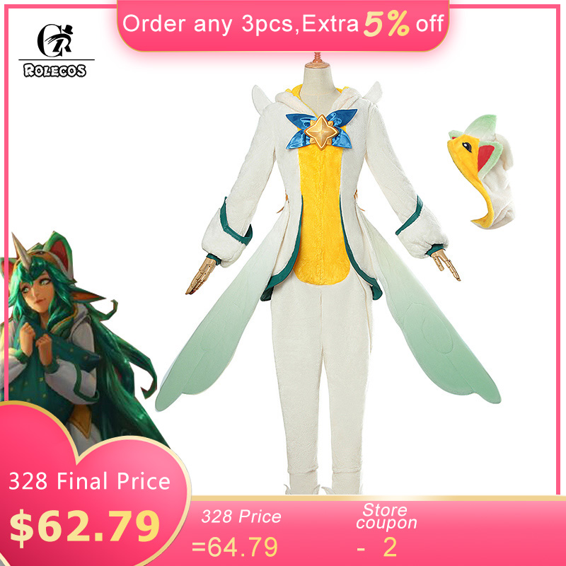 ROLECOS Game LOL Soraka Cosplay Costume Pajama Star Guardian Soraka Cosplay Costume Winter Pajama for Women Jumpsuit and Wing