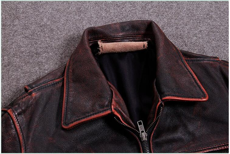 HTB1AXmBhgHqK1RjSZFPq6AwapXaF 2019 Vintage Red Brown Men American Casual Style Leather Jacket Plus Size 5XL Genuine Cowhide Autumn Leather Coat FREE SHIPPING