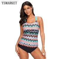 New Women Zigzag Print Tankini Swimsuit Top Sexy Y Back Bathing Suit Tops Summer Beach Swimwear Clothing E410603
