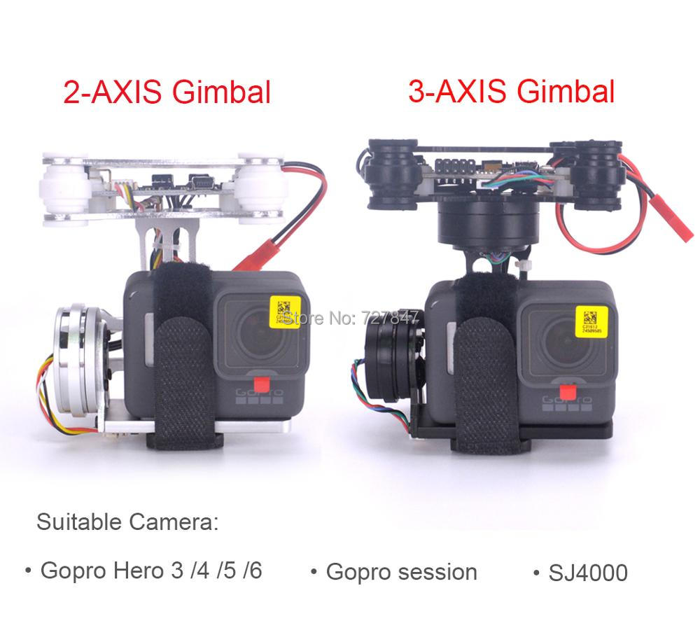 RTF FPV 3 AXIS Lightweight 2 AXIS Brushless Gimbal Board for Gopro3 4 Gopro Hero 5