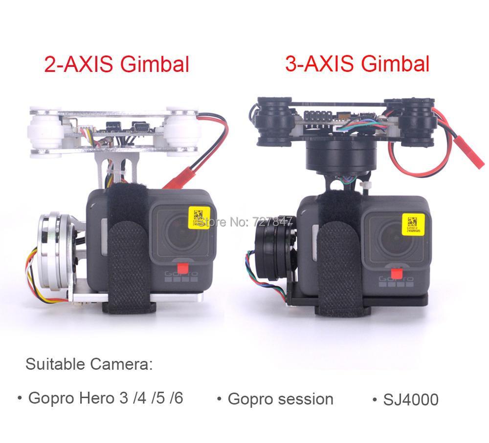 RTF FPV 3-AXE/Léger 2-AXE Brushless Cardan Conseil pour Gopro3 4 Gopro Hero 5 6 gopro session SJ4000 RC drones