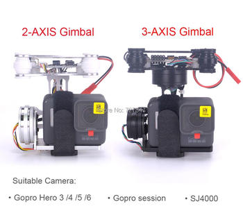 RTF FPV 3-AXIS / Lightweight 2-AXIS Brushless Gimbal Board for Gopro3 4 Gopro Hero 5 6 Gopro session SJ4000 RC drones