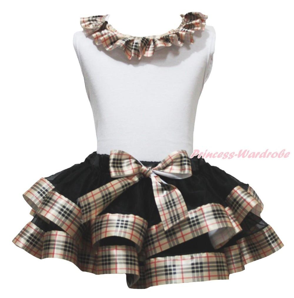 ФОТО White Top Shirt Lacing Black Check Plaid Satin Trim Skirt Girl Outfit Set NB-8Y MAPSA0872