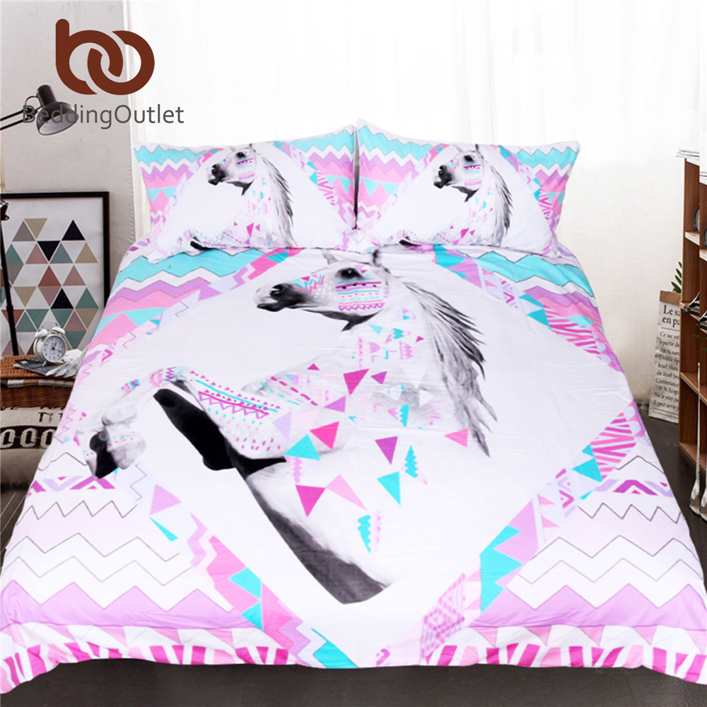 BeddingOutlet 3d Unicorn Bedding Set King <font><b>Size</b></font> Pink Horse Quilt Cover Animal Geometric Striped <font><b>Bed</b></font> Set Kids Girl Bedclothes