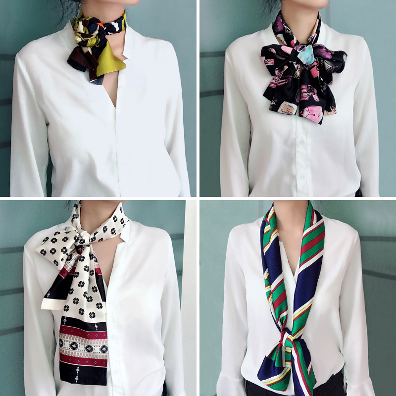 Design Summer Silk Long Scarves For Women Double Print Scarves Tie Elegance Neckerchief Neck Head Scarf For Gift Girl 145cm*15cm