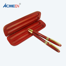Retro Classic Wood Ball Pen sets MB style Rosewood Gold trim with Pencil Box packing Luxury Gifts